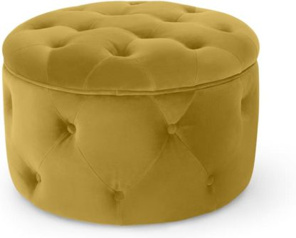 An Image of Hampton Small Round Storage Pouffe, Vintage Gold Velvet
