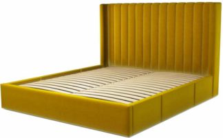 An Image of Custom MADE Cory Super King size Bed with Drawers, Saffron Yellow Velvet