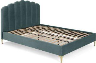An Image of Delia King Size Bed, Marine Green Velvet