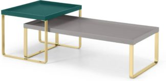 An Image of Lenny Painted Nesting Coffee Table, Green & Grey