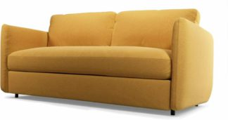 An Image of Fletcher 3 Seater Sofabed with Memory Foam Mattress, Yolk Yellow