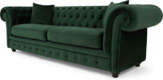 An Image of Branagh 3 Seater Chesterfield Sofa, Pine Green Velvet