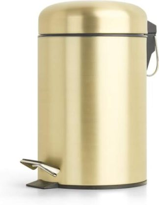 An Image of Lilo Bathroom Pedal Bin 3L, Brushed Brass