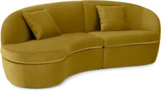 An Image of Reisa Left Hand Facing Chaise End Sofa, Vintage Gold Velvet