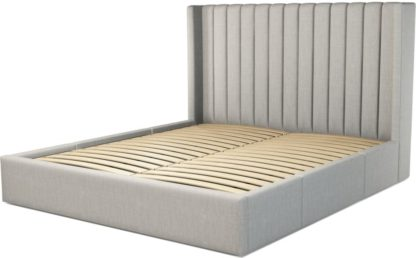 An Image of Custom MADE Cory Super King size Bed with Drawers, Ghost Grey Cotton