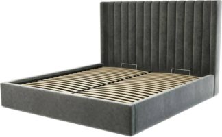 An Image of Custom MADE Cory Super King size Bed with Ottoman, Steel Grey Velvet