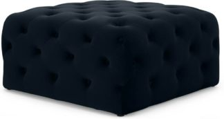 An Image of Hampton Square Pouffe, Twilight Blue Velvet