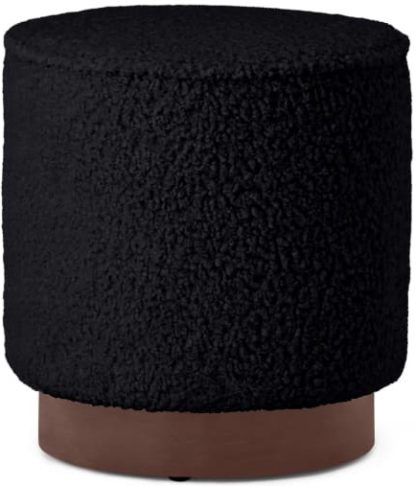 An Image of Hetherington Pouffe, Small, Black Faux Sheepskin & Dark Stain Wood