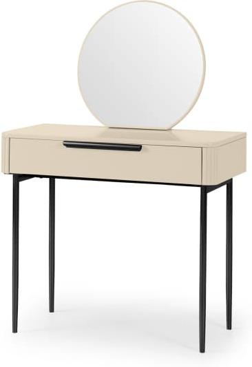 An Image of Ebro Dressing Table, Ivory White & Black