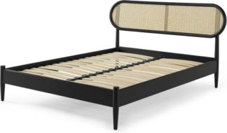 An Image of Reema King Size Bed, Black Stain & Cane