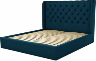 An Image of Custom MADE Romare Super King size Bed with Drawers, Navy Wool