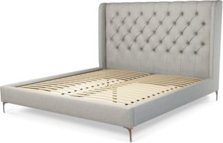 An Image of Custom MADE Romare Super King size Bed, Ghost Grey Cotton with Copper Legs