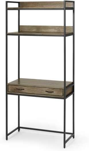 An Image of Lomond Modular Functional Desk, Mango Wood & Black