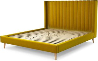 An Image of Custom MADE Cory Super King size Bed, Saffron Yellow Velvet with Oak Legs