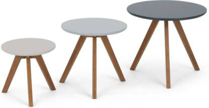 An Image of Set of 3 Orion Side Tables, Dark Stain and Grey