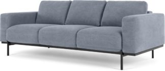 An Image of Jarrod 3 Seater Sofa, Washed Blue Cotton