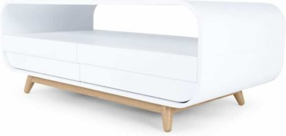 An Image of Esme Coffee Table With Two Drawers, White and Ash