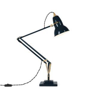 An Image of Anglepoise Original 1227 Desk Lamp Brass Ink Blue