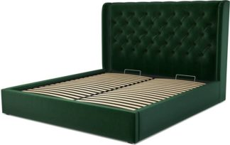 An Image of Custom MADE Romare Super King size Bed with Ottoman, Bottle Green Velvet