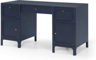 An Image of Bromley Wide Desk, Deep Navy & Grey