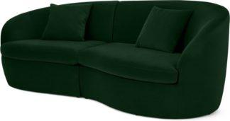 An Image of Reisa 3 Seater Sofa, Pine Green Velvet