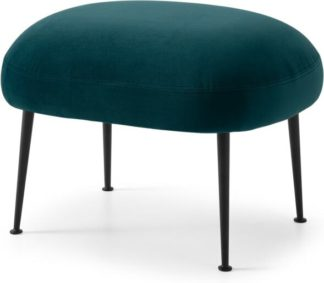 An Image of Bonnie Footstool, Steel Blue Velvet