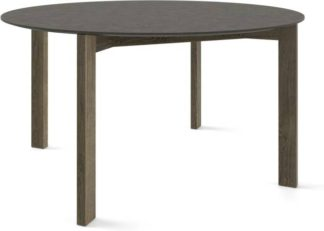 An Image of Custom MADE Niven 6 Seat Round Dining Table, Concrete and Smoked Oak