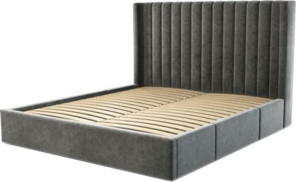 An Image of Custom MADE Cory Super King size Bed with Drawers, Steel Grey Velvet