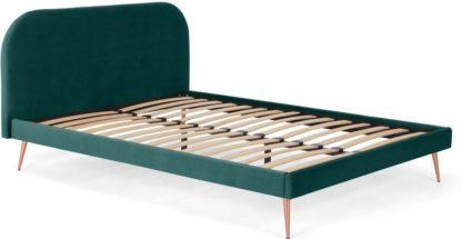 An Image of Eulia Super King Size Bed, Seafoam Blue Velvet & Copper Legs