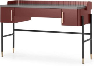 An Image of Lali Wide Desk, Mid Grey & Mahogany Red