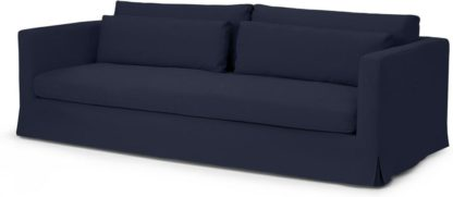 An Image of Arabelo 4 Seater Loose Cover Sofa, Midnight Blue Cotton & Linen Mix Fabric
