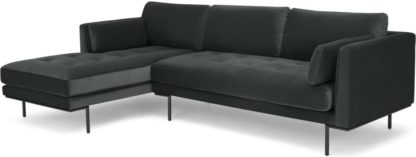 An Image of Harlow, Left Hand Facing Chaise End, Mourne Grey Velvet
