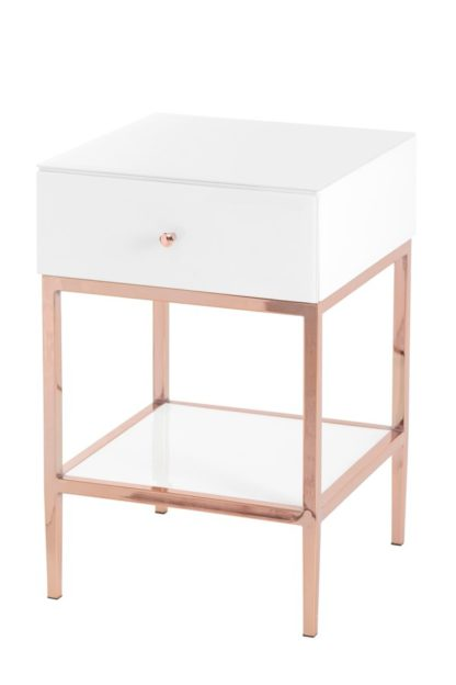 An Image of Stiletto Toughened White Glass and Rose Gold Side Table