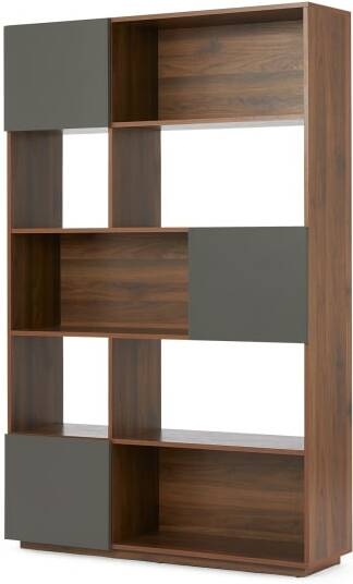 An Image of Hopkins Wide Bookcase, Walnut Effect & Grey