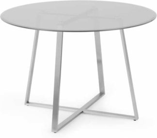 An Image of Haku 4 Seat Round Dining Table, Brushed Stainless Steel and Smoked Glass