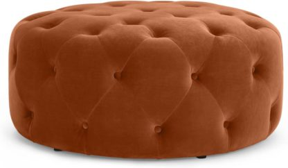 An Image of Hampton Large Round Pouffe, Nutmeg Orange Velvet