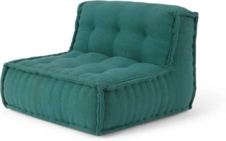 An Image of Sully Modular Large Floor Cushion, Teal Cotton Slub