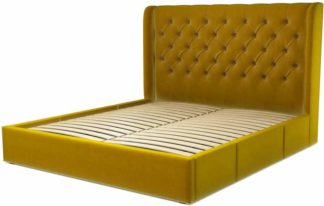 An Image of Custom MADE Romare Super King size Bed with Drawers, Saffron Yellow Velvet