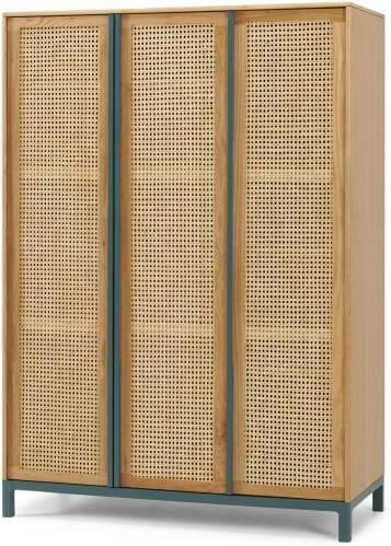 An Image of Reema Triple Wardrobe, Natural Oak & Cane