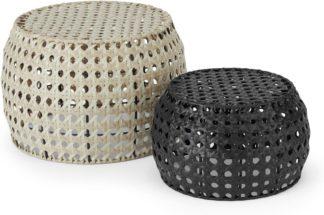 An Image of Aakko Set of 2 Poly Rattan Decorative Stools, Natural