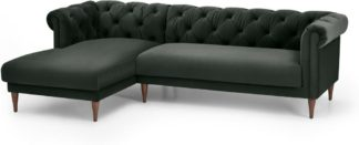 An Image of Barstow Left Hand Facing Chaise End Corner Sofa, Dark Anthracite Velvet