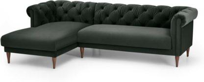 An Image of Barstow Left Hand Facing Chaise End Corner Sofa, Dark Anthracite Velvet