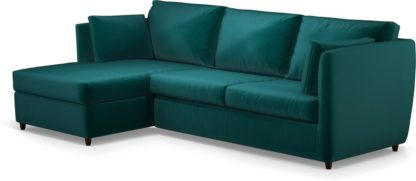 An Image of Milner Left Hand Facing Corner Storage Sofa Bed with Foam Mattress, Tuscan Teal Velvet