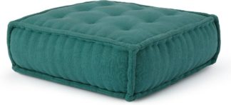An Image of Sully Large Floor Cushion, Teal Cotton Slub