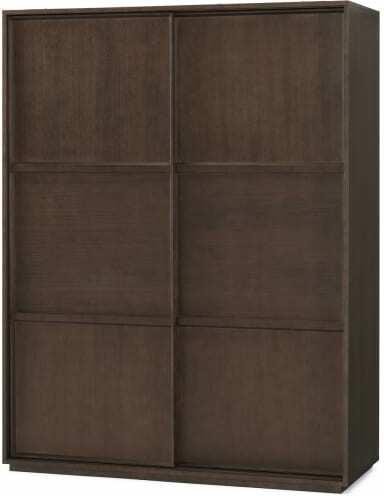An Image of Langdon 150cm Sliding Wardrobe, Dark Stain Ash