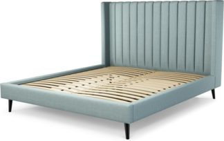 An Image of Custom MADE Cory Super King size Bed, Sea Green Cotton with Black Stained Oak Legs