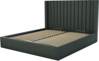 An Image of Custom MADE Cory Super King size Bed with Ottoman, Etna Grey Wool