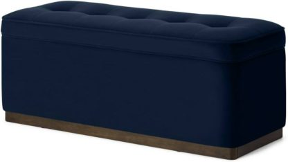An Image of Lavelle Ottoman Bench with Walnut Stain Plinth, Ink Blue Velvet