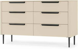 An Image of Ebro Wide Chest of Drawers, Ivory White & Black