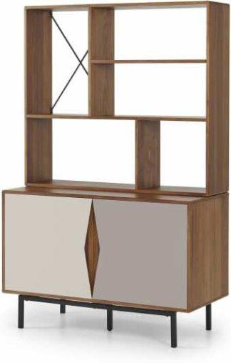 An Image of Louis Highboard, Walnut & Warm Neutrals